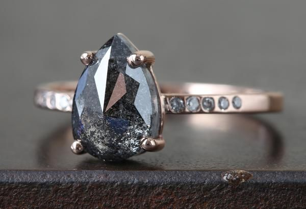 Custom Natural Rose Cut Black Diamond Engagement Ring                                     – Alexis Russell