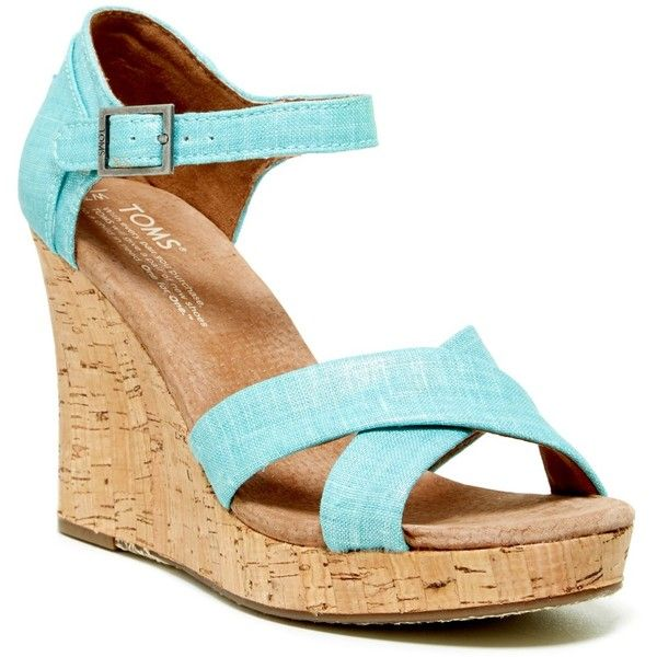 TOMS Metallic Linen Strappy Wedge Sandal ($40) ❤ liked on Polyvore featuring shoes, sandals, turquoise, wedge sandals, strap sandals, platform wedge sandals, toms shoes and open toe sandals