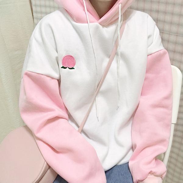 fa51d298d974 Cute peach embroidery hoodie YV40905   pastel princess in 2019 ...