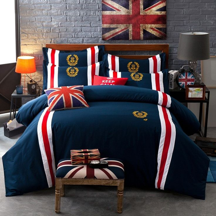 home d?cor diy 60S Cotton Badge British Style Blue color Bedding Set King Queen size Double Bed sheet set Duvet cover Pillow shams -- AliExpress Affiliate's buyable pin. Locate the offer on www.aliexpress.com simply by clicking the VISIT button
