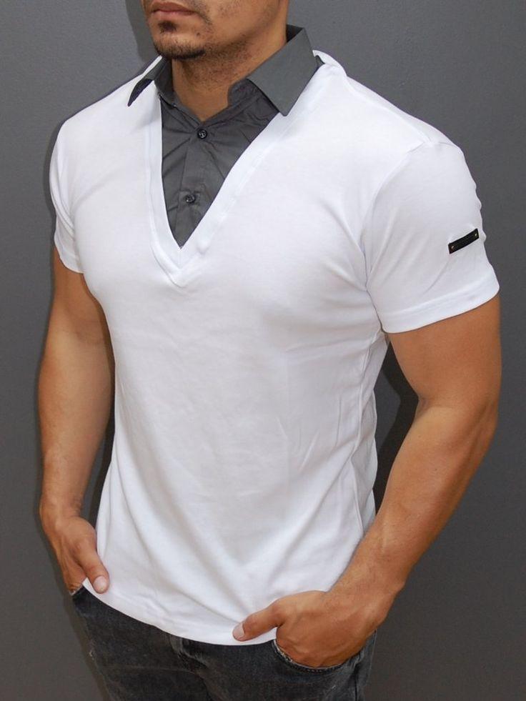 r r men stylish fused collar t shirt white en 2019. Black Bedroom Furniture Sets. Home Design Ideas