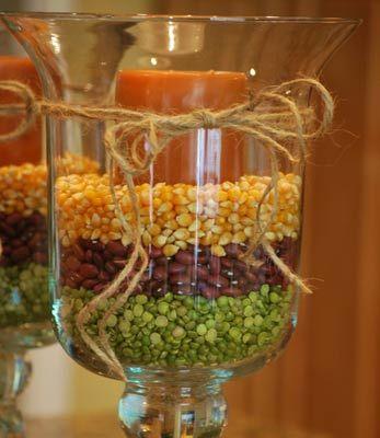 Windlicht mit Mais, Bohnen und Erbsen