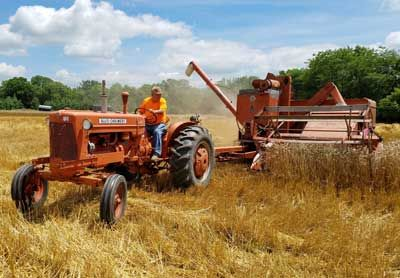 Allis Chalmers D series pulling All Crop combine...like going back in time...not too complicated...