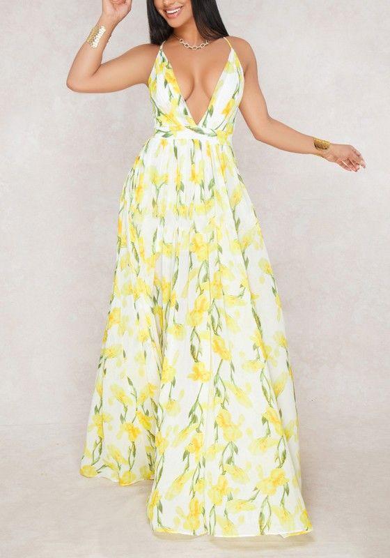65a5543c86d55 Yellow Draped Spaghetti Strap Flowy Deep V-neck High Waisted Bohemian Party  Maxi Dress
