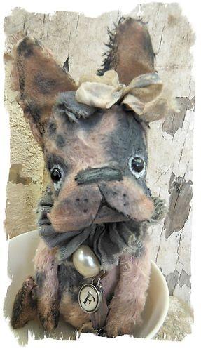 Antique Style ★tiny Pink Gray French Bulldog Vintage Dog ★ by Whendi's Bears | eBay