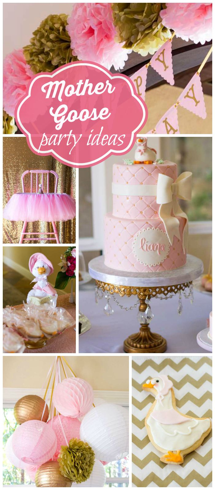 A Mother Goose themed birthday party with crepes, face painting, photo booth and a balloon artist! See more party planning ideas at CatchMyParty.com!