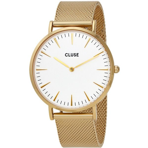Cluse La Boheme White Dial Gold-tone Mesh Watch (394115 PYG) ❤ liked on Polyvore featuring jewelry, watches, boho watches, cluse watches, analog wrist watch, dress watches and bohemian jewelry
