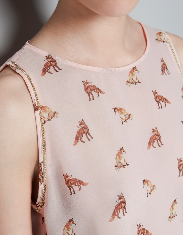 FOX PRINT TOP - Shirts - TRF - ZARA United States