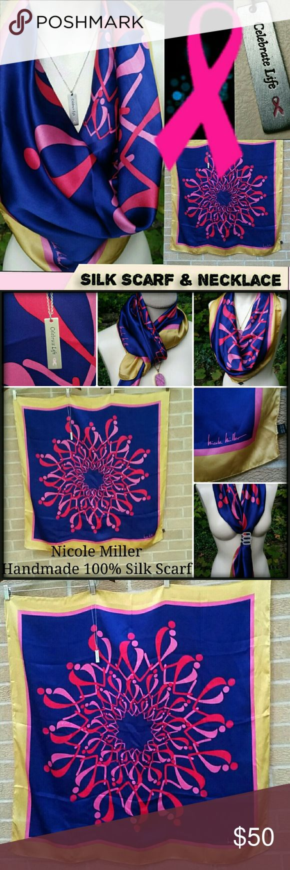 "Vintage Pink Ribbon Necklace & Nicole Miller Scarf Pink Ribbon Scarf & Necklace - you get both! :-)  The scarf is an exclusive Nicole Miller Design that was Not available in stores! (VERY Rare!)  One-of-a-kind (OOAK) silk scarf features an original Nicole Miller design on high quality 100% silk.  Stunning, vivid colors - a richness in hue that only silk can hold :-) This scarf is HANDMADE - hand rolled, hand-stitched edging.  Extra large, versatile size - it measures 36x35"".  Necklace…"