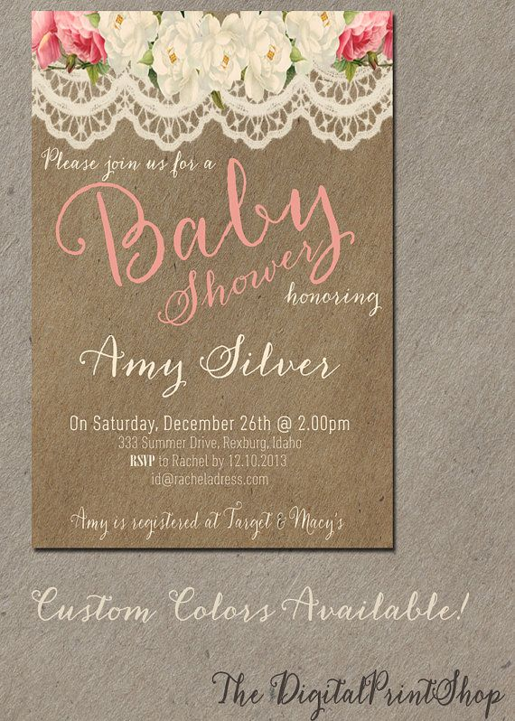 Shabby chic baby shower invitation  @bflores12 THIS CAN BE SHABBY CHIC. TO BE HONEST I DONT THINK U EVEN KNOW WHAT U WANT LOL