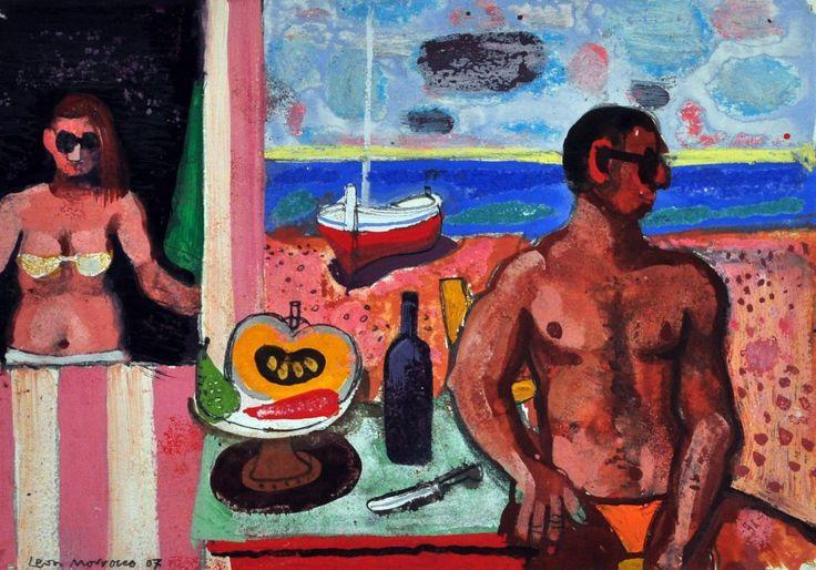 Leon Morrocco RSA RGI At the Beach Oil, Pastel & Gouache   Scottish Contemporary Art