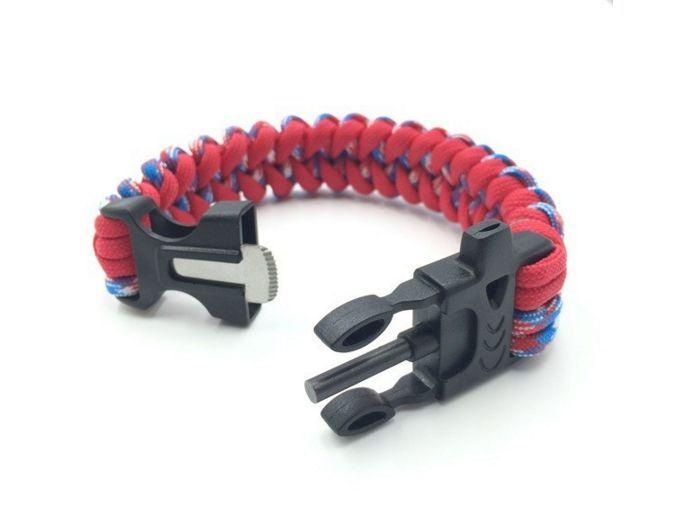 Paracord Bracelet 3 in 1 - Emergency Rope Gear, Whistle, & Flint Scraper Fire Starter