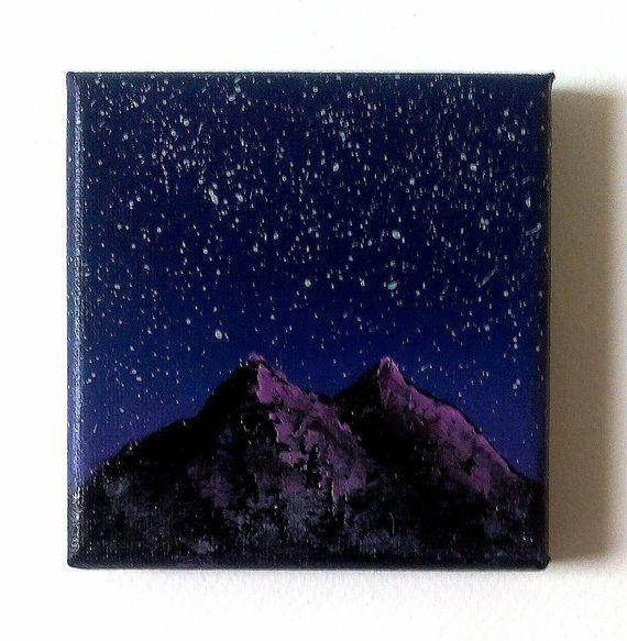 Peinture Miniature Ciel Etoile Violet Et Montagne Acrylique Sur