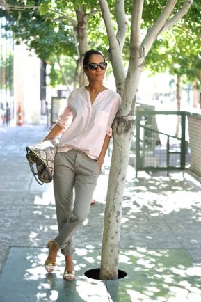 Pastel pink blouse +grey skinny + pink wedges                                             …