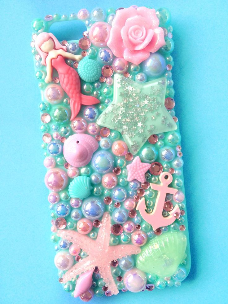 Starfish & Seashell Mint Decoden Phone Case