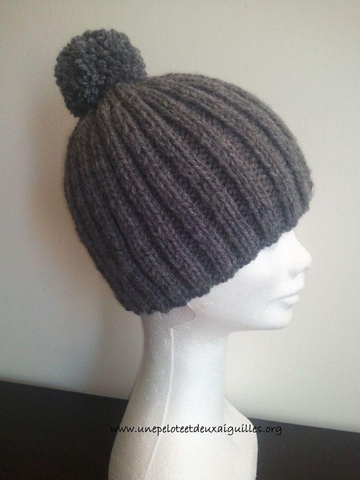 Tricoter un bonnet côtes 2/2 pour homme
