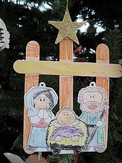 popsicle stick nativity. could use more popsicle sticks to create family.