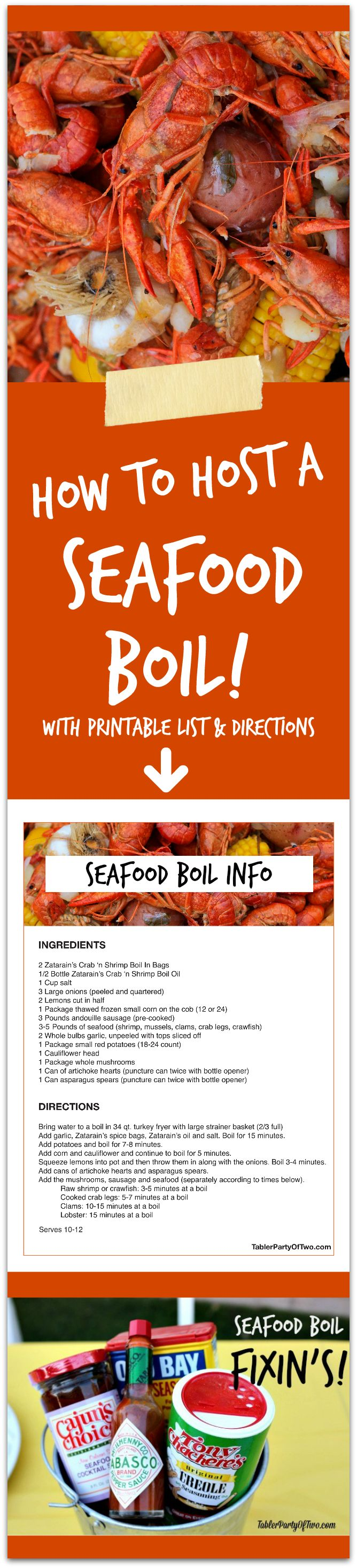 How to Host a Seafood Boil - EVERYTHING you need to know! This will be the MOST FUN summer party you ever threw! Click to get your FREE printable list and directions.