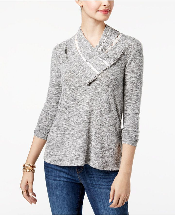 a9448fba907 Style Co. Style   Co Petite Lace-Trim Cowl-Neck Top