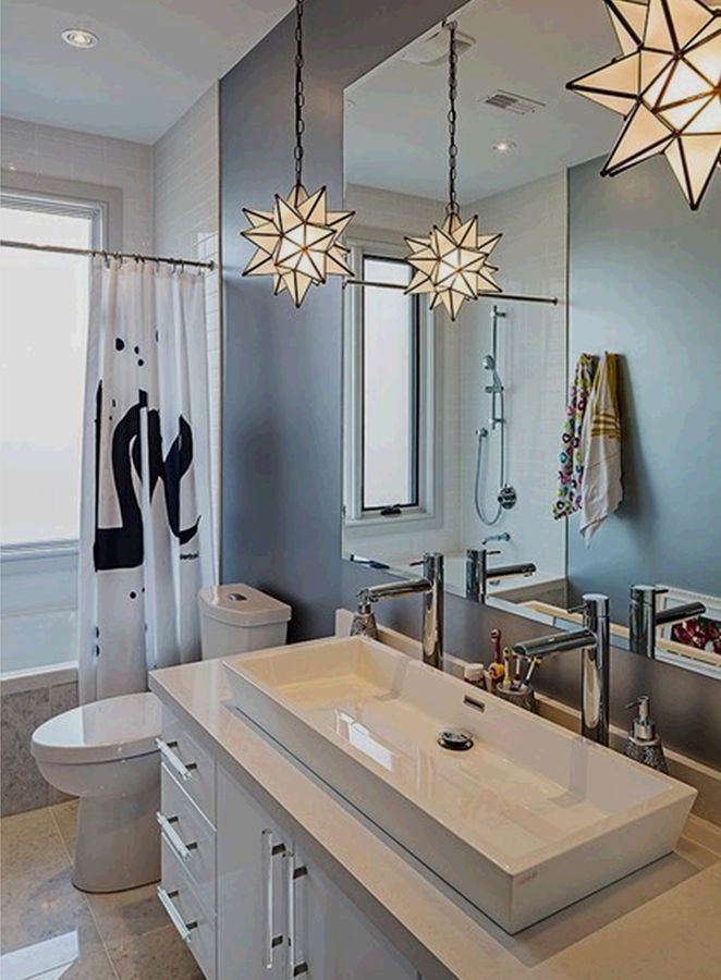 Styling A Modern Lighting Design Can Be Hard But It Doesn T Need To Let Us Change Your Interior De Bathroom Remodel Master Eclectic Bathroom Glass Star Light