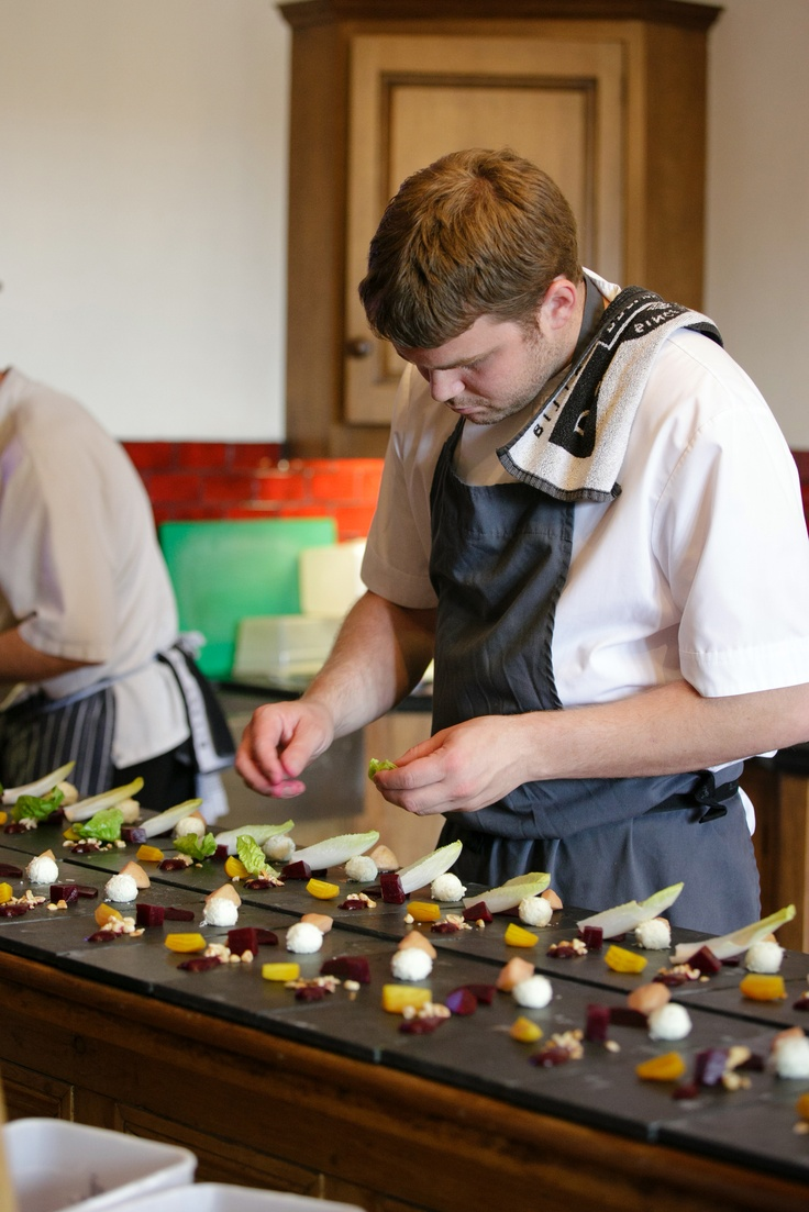 Michelin starred Chef Josh Eggleton busy preparing food in The Manors's kitchen. http://www.themanorsomerset.co.uk/