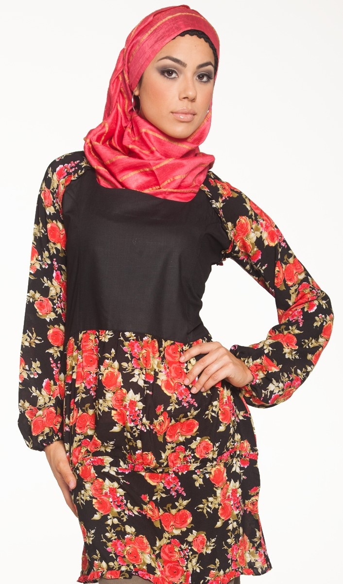 Corine Flower Print Long Tunic Dress - Islamic Clothing for Women - Islamic