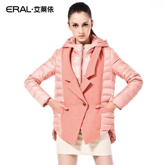Eral 2016新しい到着冬コート女性のスリム中期長い厚いフード付きダウンジャケットノッチ襟パッチワークスーツERAL6017C