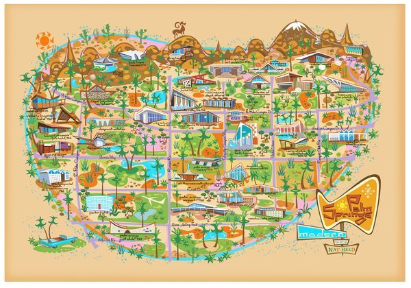 """Mod Map - Nat Reed's map of Palm Springs Modern design sights is part of """"Postfabricated,"""" an exhibition at a Palm Springs pop-up shop Feb. 17-26 as part of Palm Springs Modernism Week"""