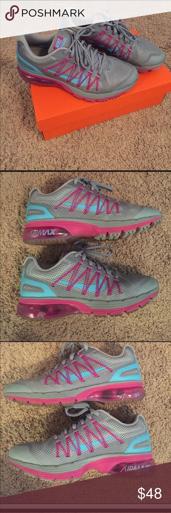 Women's Nike air max Excellerate 3 Grey , turquoise and magenta size 8 1/2 . Worn a few times in good condition Nike Shoes Athletic Shoes