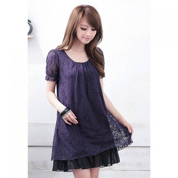 Lace Voile Splicing Scoop Neck Short Sleeves Sweet Style Chiffon Dress For Women