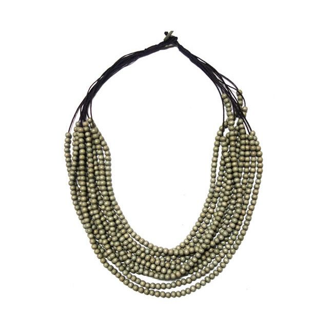 Olive Beaded Layered Necklace from Melzbeads.  Ten layers of olive beads…