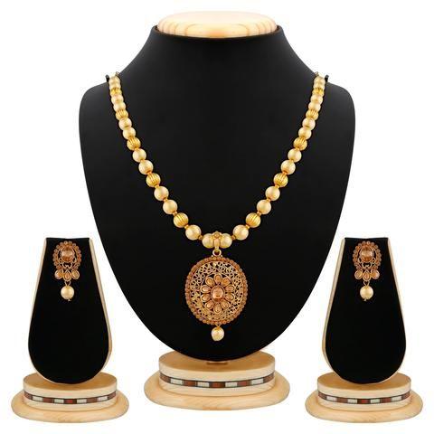 Golden Color Brass Necklace Set  - RLNS-1354