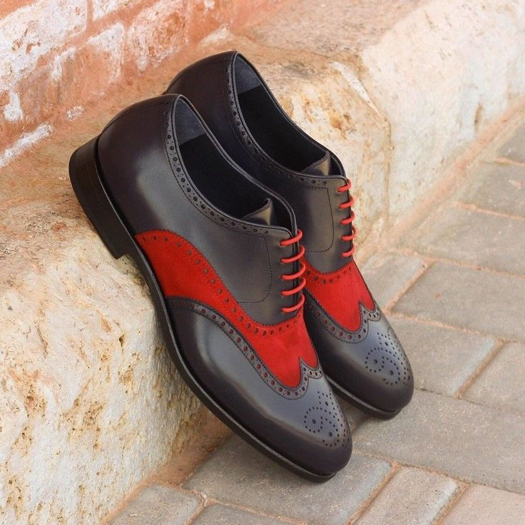 Handmade Men two tone leather formal shoes, Men red and black dress shoes #Handmade #oxford