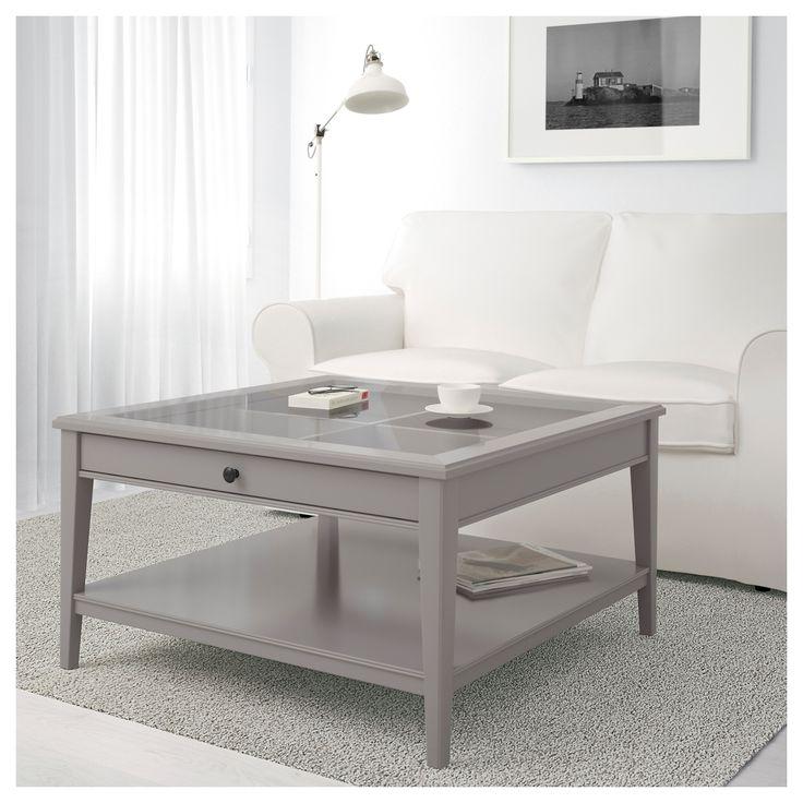 Hemnes Coffee Table White Stain 90x90 Cm: LIATORP Coffee Table Grey/glass IKEA