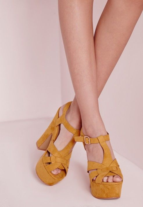 70's Platform Heeled Sandals Yellow - Shoes - High Heels - Missguided