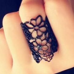 Black flower ring http://crazyberry.in/online-shopping/artificial-imitation-fashion-jewellery/cutout-lace-flower-black-ring