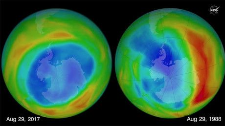 """Hole in ozone layer shrank to smallest size since 1988 – NASA (VIDEO) https://tmbw.news/hole-in-ozone-layer-shrank-to-smallest-size-since-1988-nasa-video  The ozone layer shrank to its smallest size since 1988 in 2017, NASA has confirmed. They currently attribute the shrinkage to an increase in air temperatures across the globe.NASA's Aura satellite and the joint NASA-NOAA Suomi National Polar-orbiting Partnership satellite measure ozone in Earth's atmosphere from space.""""In the past, we've…"""