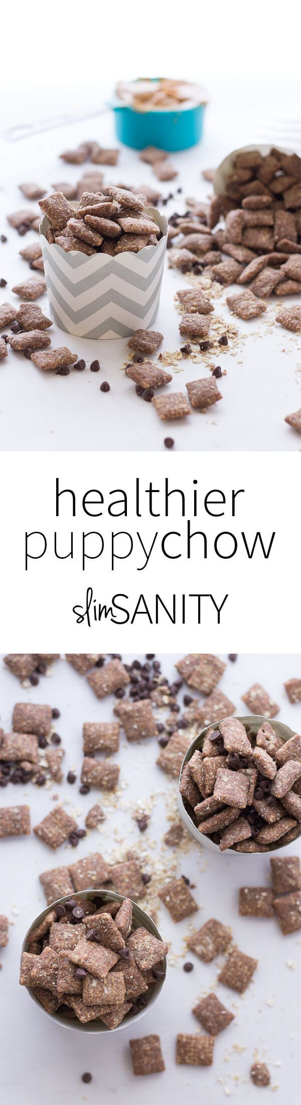 A healthy twist to a favorite childhood treat. This healthier puppy chow recipe makes for a delicious snack for your sweet tooth! | slimsanity.com http://slimsanity.com/healthier-puppy-chow/