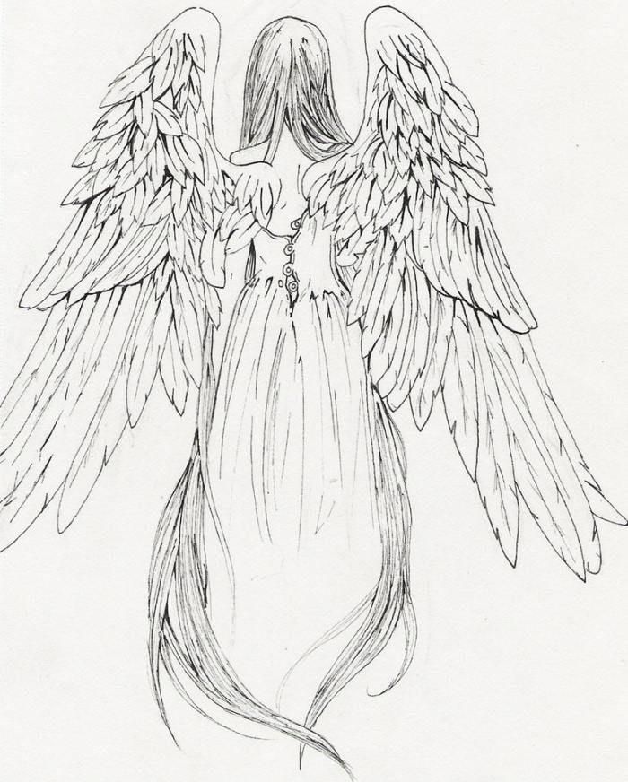 Einer der wenigen Engel, die ich von hinten finden konnte. Ich denke, das ist detaillierter als ich brauche. Aber ich mag, dass ihre Flügel nach unten zeigen, sie trägt einen …