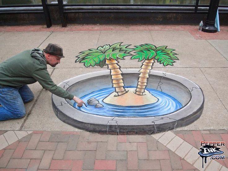 http://www.pepperink.com - 3D chalk art for an Art of Water outdoor event.