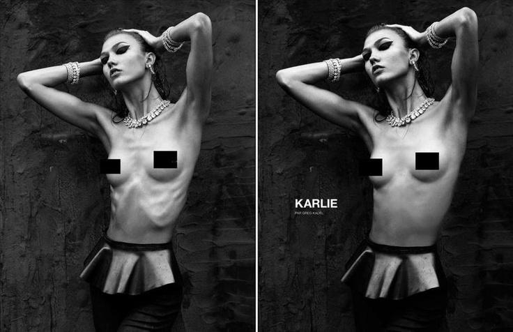 Photoshop adding weight to Karlie Kloss