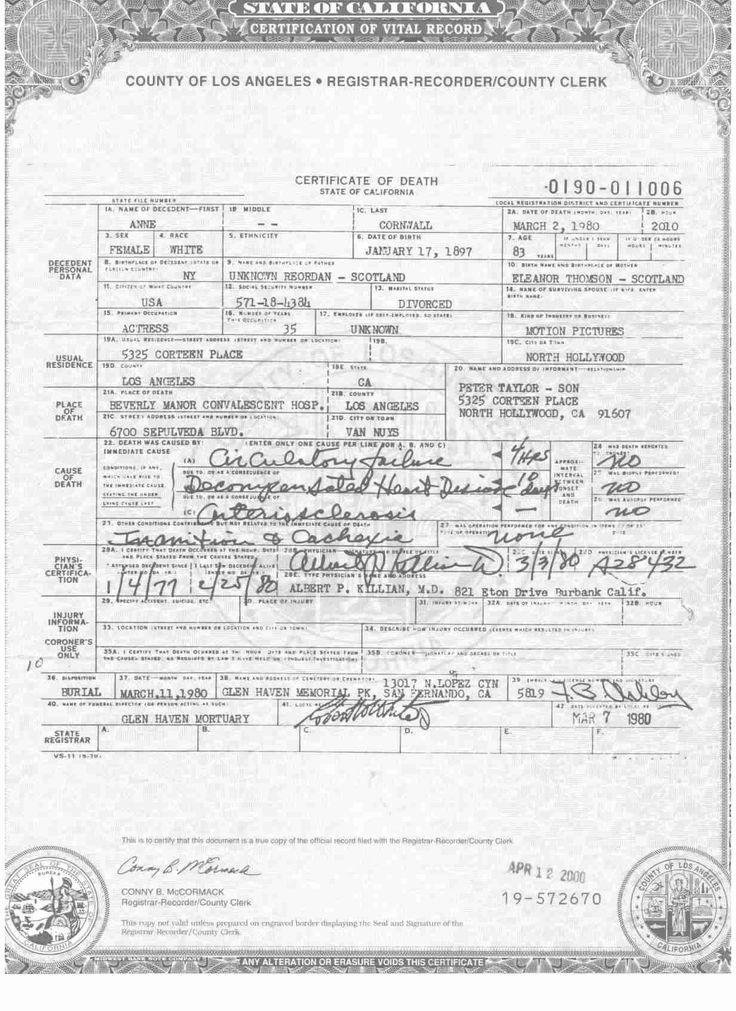 Anne Cornwall death certificate | WAMPAS Baby Stars of 1925 ...