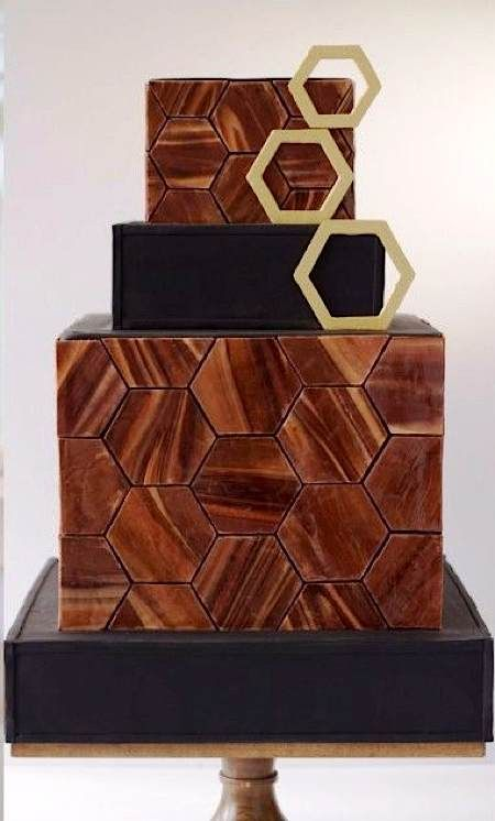 chocolate hexagon geometric wedding cake #brown #black #gold