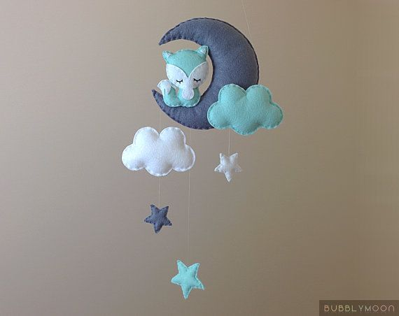 Fox Baby Mobile Modern Nursery Decor Moon Baby by BubblyMoon