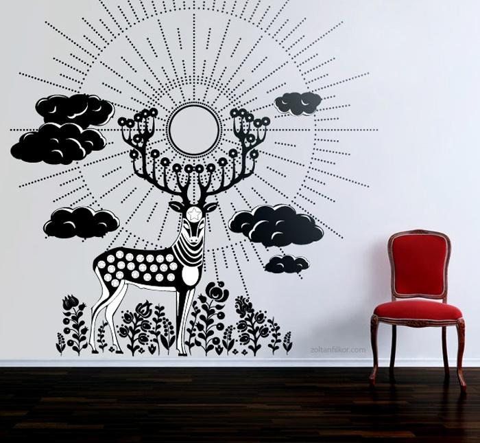 The Wonder Stag wall stickers by Zoltan Filkor / Csodaszarvas falimatrica