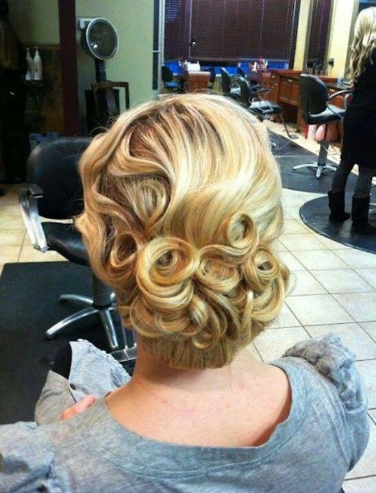 hair style 1950 vintage barrel curl updo vintage updo pin curls 2892