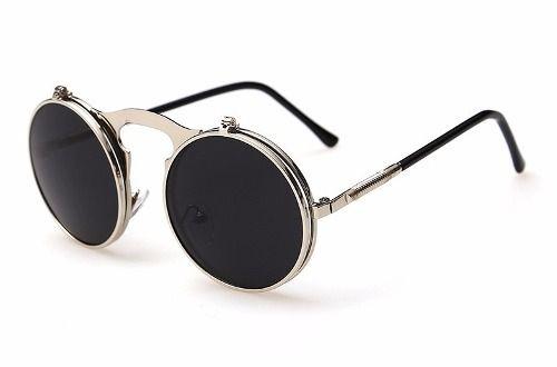 óculos de sol steampunk duplo flip redondo estilo futurista