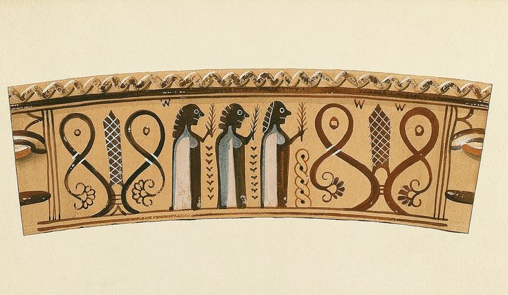 Agora Image: Water color by Piet de Jong of the neck of a Protoattic amphora, pattern rolled out.Procession of Votaries carrying Myrtle Branches. 7th century B.C.