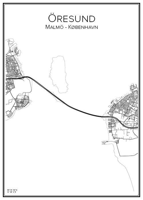Öresund. Sverige. Danmark. Karta. Map. Print. Affisch. Tavla. Tryck.