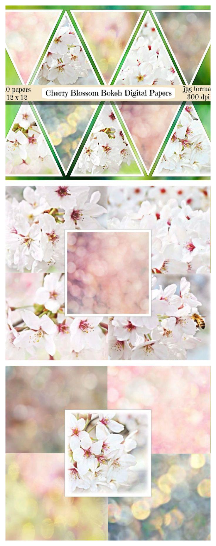Scrapbook paper england - Cherry Blossom Digital Papers Cherry Blossom Scrapbooking Bokeh Digital Papers Bokeh Background Spring Scrapbooking Bokeh Textures